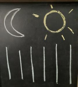 dibujo de luna, sol y lineas rectas