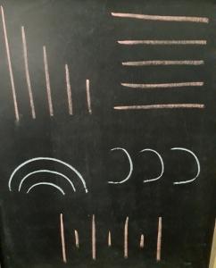 lineas curvas y rectas dibujadas en una pizarra