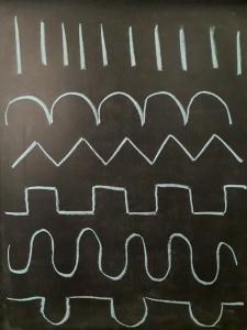 dibujo de patrones en pizarra