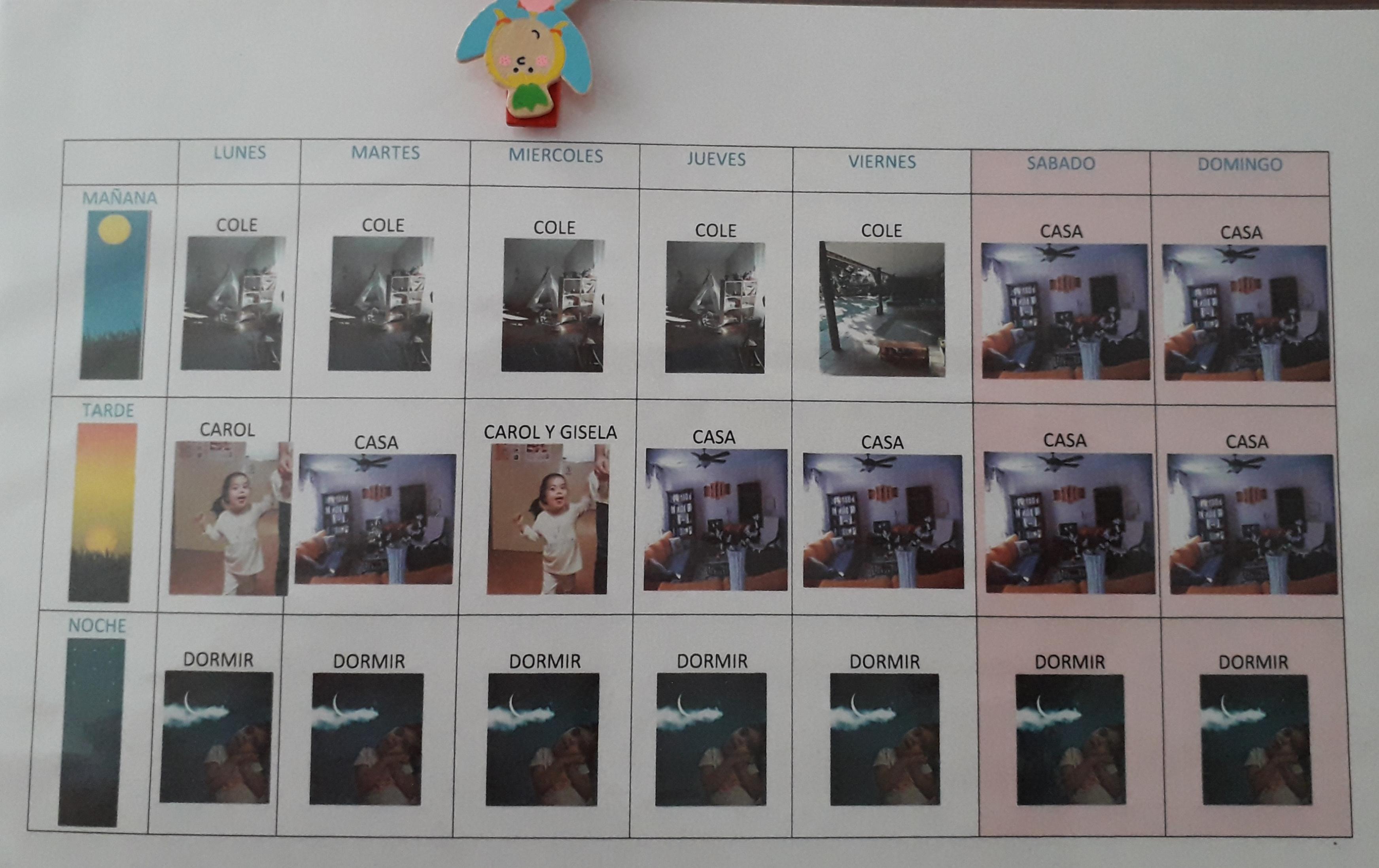 planificador calendario semanal con fotos propias